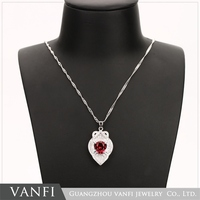 Fashion New Design Indian Ruby Stone Platinum Plated Copper Necklace
