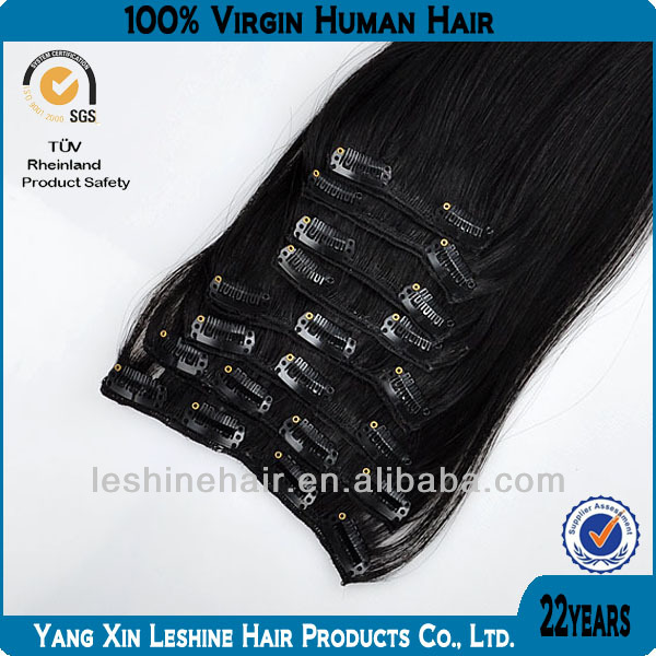 New Beauty Products 2014 Double Weft Full Cuticle Wholesale Clip On Hair Extensions For Black Women