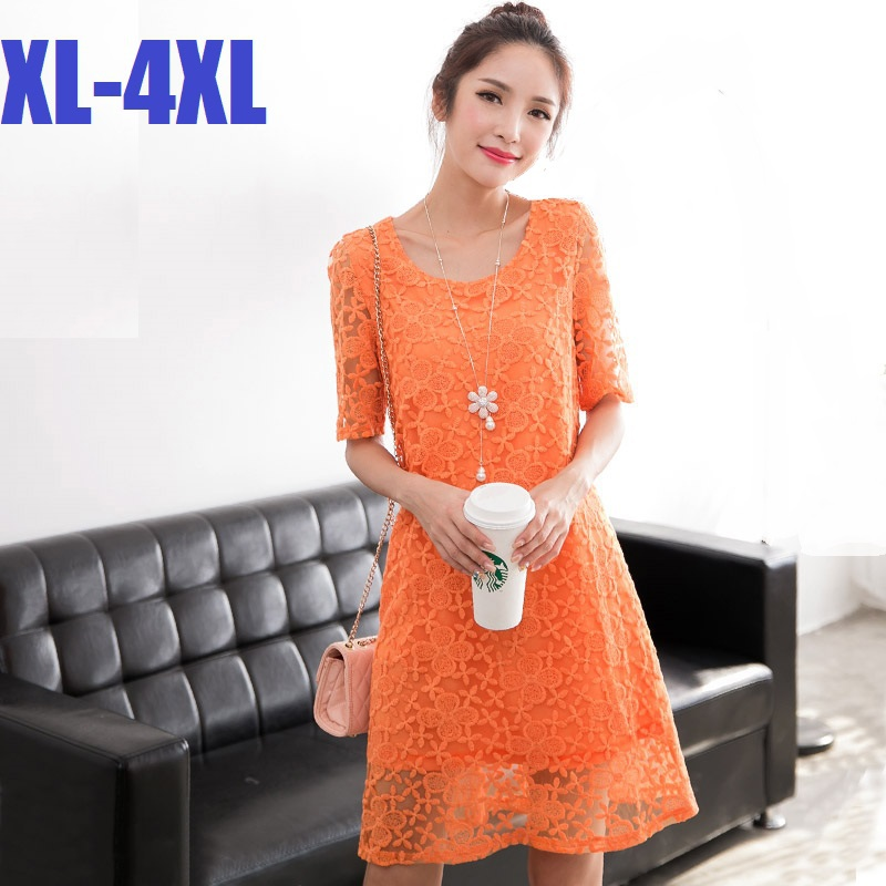 2015New Summer Style Ladie Casual Lace Dress with lining Women Short Sleeve O neck A-line Dress elegant vestidos plus size XXXXL