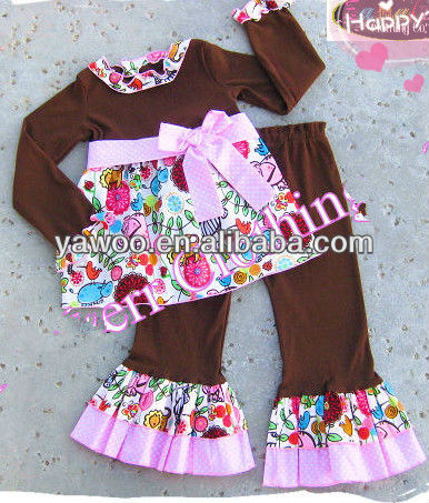 New Arrival Kids Girl Animal Safari Knit Tee Top Ruffle Pant Outfit Set Toddler Custom Boutique Girl Fall Clothes Flower Outfit