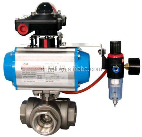 pneumatic 3 way ball valve with limit switch box