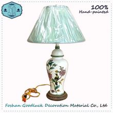 Hand Painted Natural Style White Ceramic Bird Pattern A Shop Table Lamp