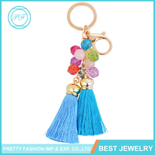 2016 Promotional Nylon Rope Tassel Keychain With Acrylic Beads Charm