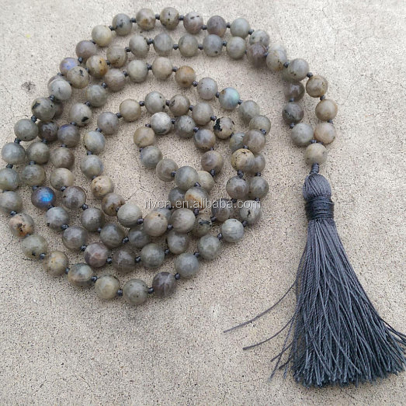 ST0508 8mm Labradorite Stone Grey Tassel Traditional Hand Knotted 108 Bead Meditation Mala Necklace Crown Yoga Reiki Jewelry
