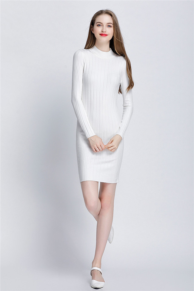 0b899a2eb22 GOPLUS New Ribbed Knit Sweater Dress Spring Autumn Women Long ...