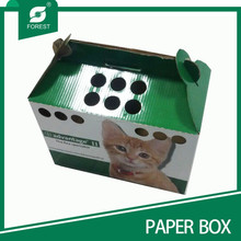 2015 BEST PRICE FREE DESIGN CUSTOMIZED PET CARRIER CARDBOARD BOX WITH HOLES
