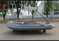 Rigid aluminum floor inflatable boat with tent and wheel made in Qingdao Jiahai boat CO.,LTD