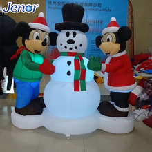 Chirstmas Inflatable Snowmen With Two Birblown Cartoon Character Yard Art Decoration