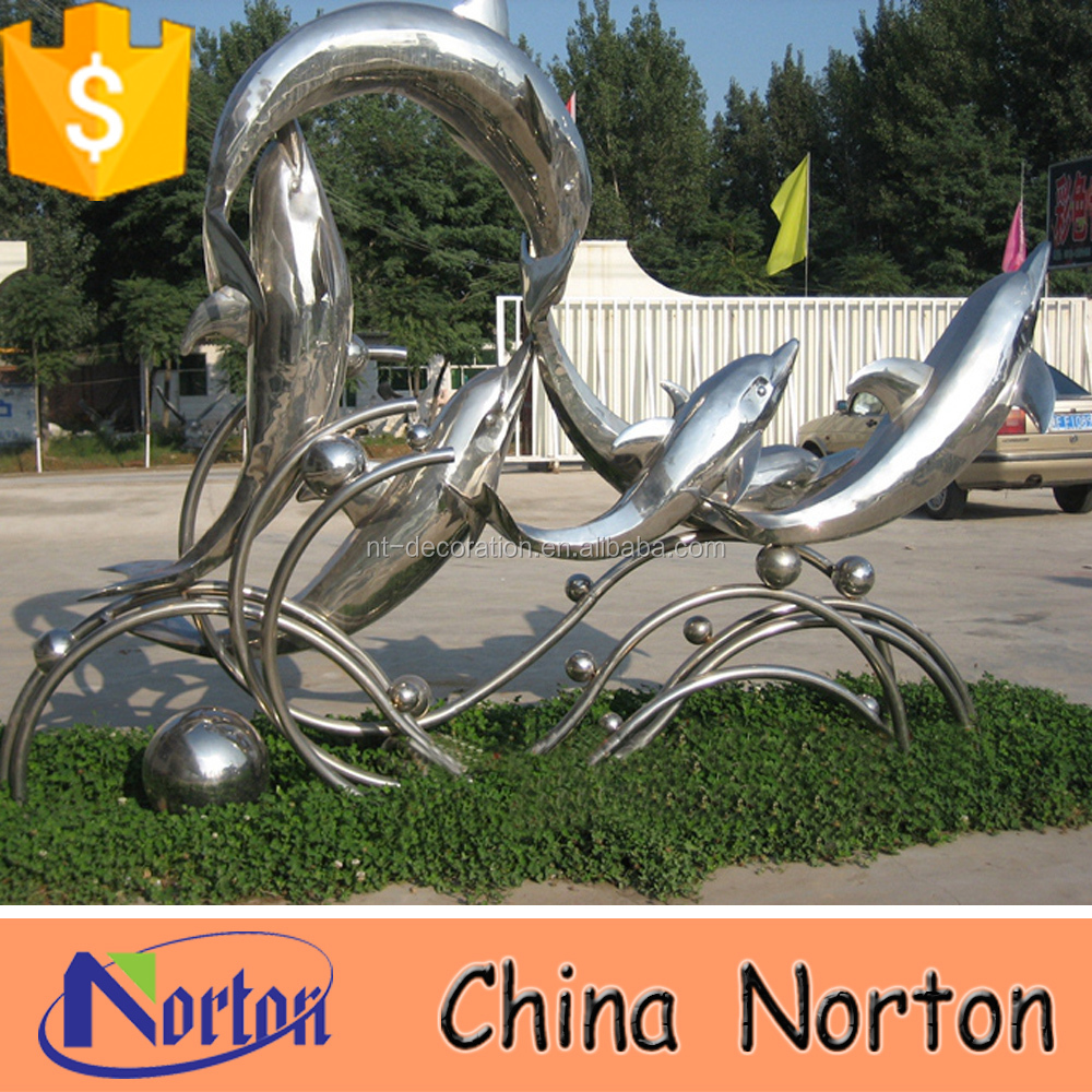 stainless steel dolphin garden ornaments with ball NTS-664S