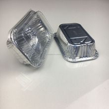 Wholesale price 200ml rectangular aluminum foil food grade aluminum foil salad packing container with transpartent PP lid