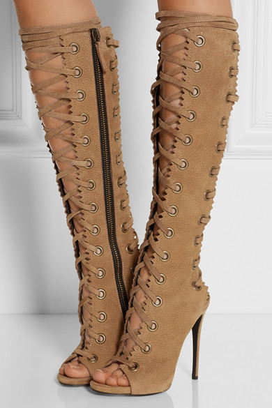 Summer peep toe high heel knee high <strong>boots</strong> for women with lace up for women lady