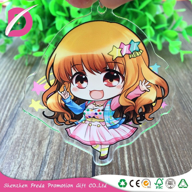 Custom plastic clear transparent 3D shaped engraved acrylic pendant keychain