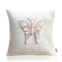 WLHK0088 Blingbling Sequins Butterfly Suede Fabric Chair Cushion