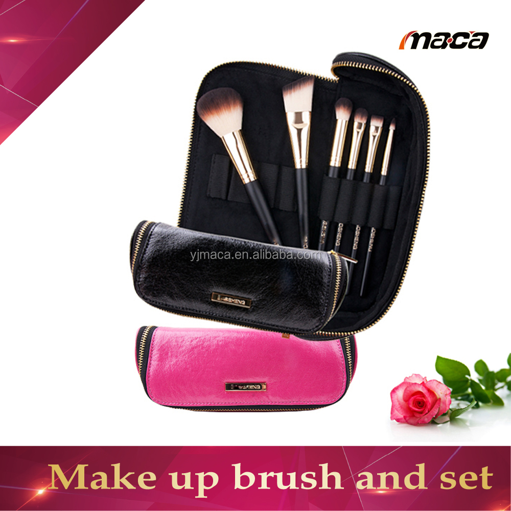 hot sale beauty needs professional 6pcs wood handle synethic hair makeup brush set personalized cosmetic brush set