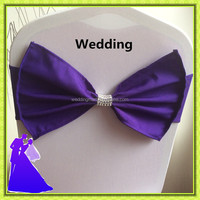 2015 hot selling Purple chair cover Bow for wedding