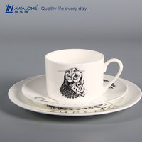 4 pcs Wildest animal dinnerware set ceramic guardian dinneware bone china cute owl high quality modern tableware