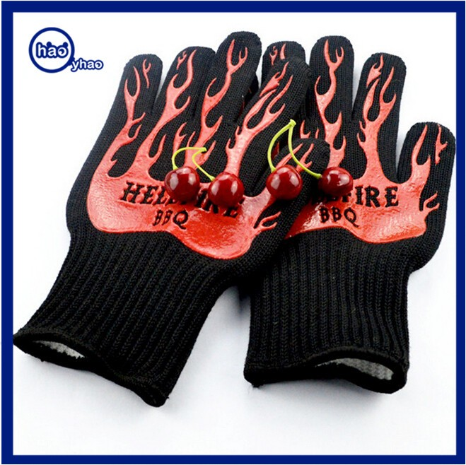 2017 Yhao EN407 Certificate 932F Heat Resistant BBQ Cooking Gloves Aramid Cooking Gloves Non Slip Silicone Grill Gloves