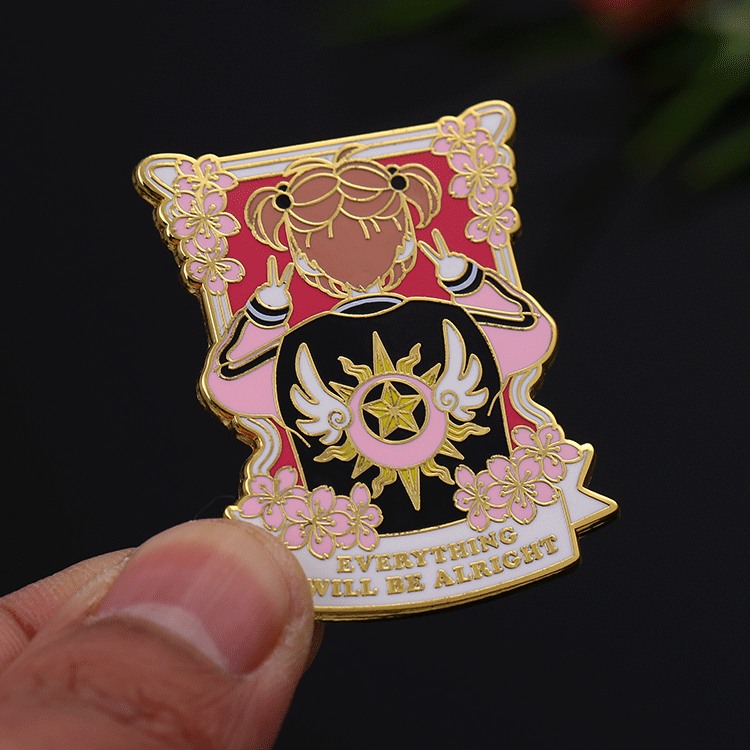 High quality Shuanghua gifts custom gold plated hard enamel flower cartoon lapel pins