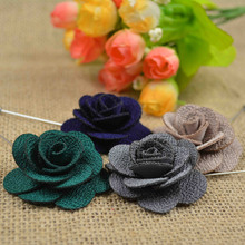 Stock fabric brooch pins, Flower men booches, Fabric flower label pins
