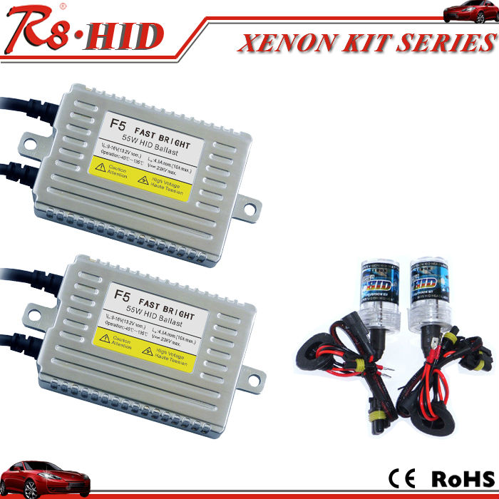Top F5 55W Fast bright <strong>HID</strong> xenon conversion <strong>kit</strong> headlight 55w <strong>hid</strong> ballast with single beam xenon lamps