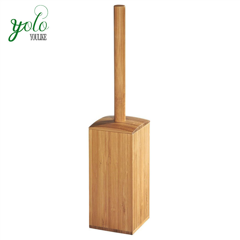 Narural Bamboo Toilet Bowl Brush Holder - Bathroom Cleaning Storage