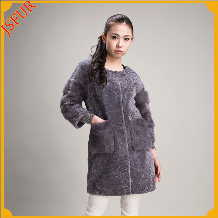 Elegant sleeveless sheep shearing mink fur coat for women stand collar long vest