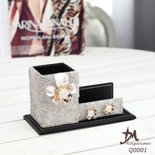 Xingdaimei office fashion jewelry inlaid Rhinestone Pen Container Q0001
