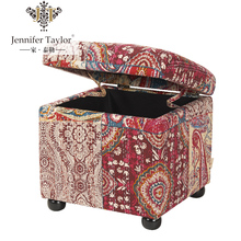 Home decor furniture storage bench, living room furniture kantha blanket upholstery storage ottoman