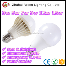 china wholesale market 120 degree beam angel E27 B22 E14 3w 5w 7w 9w 12w 15w plastic coating aluminum LED bulb light