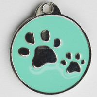 Green Custom color ID dog tag with OR code for boy pets
