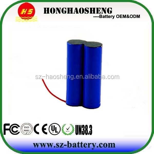 Most Popular 18650 Battery Pack 2s1p 7.4V 2200mAh Lithium Battery Pack