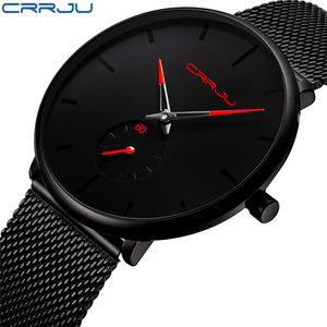 CRRJU Men Stainless Steel Ultra Thin Watches Top Brand Luxury Watches Men Classic Quartz Men's Wrist Watch Relogio Masculino