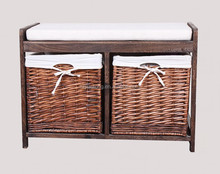 Hallway Storage Bench with Willow Baskets