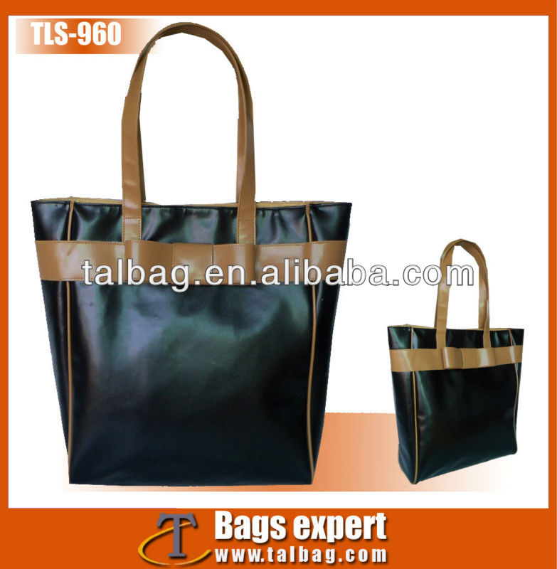 simple style fasion black PVC Leather tote bag 2013