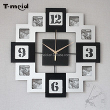 Creative art wall quartz clock wooden decorative wall mounted clock with multi 12 photo frame