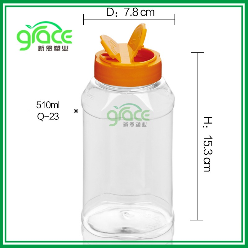 SGS BPA FDA free unique shape spice container with butterfly screw lid for custom design , plastic pet bulk spice jar