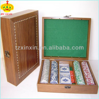 wooden box for poker set and chips 3047/cheap poker box and chips for sale