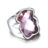 High quality Fashion Jewellery Crystal Bear Shape Custom Stainless Steel Ring