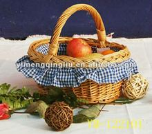 Round Wicker Fruit Basket With Handle