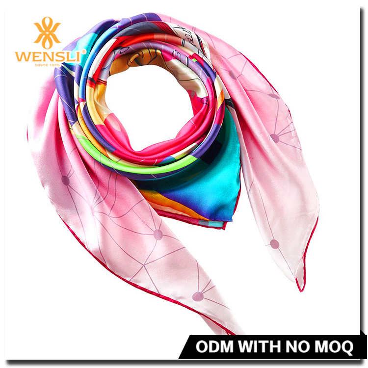 Wholesale 100% Silk Satin Square Mosi Custom Design Silk Scarf