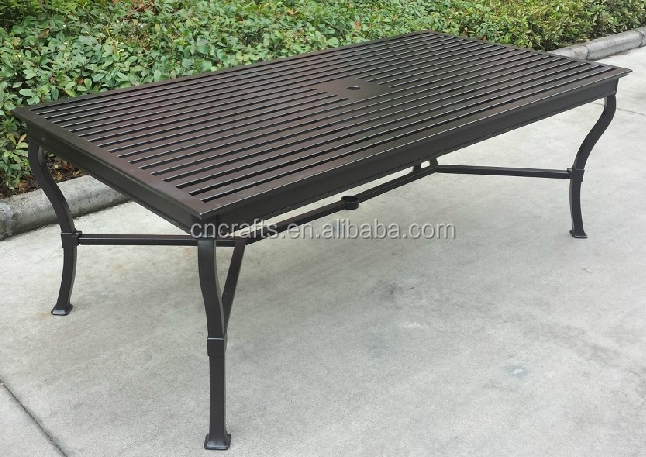 Cast Aluminum Outdoor Rectangle Pedestal Dining Table