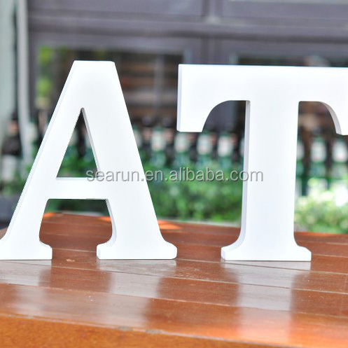 wholesale wood white alphabet letter, decorative christmas wood letters