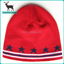 star pattern double layer red sport knit hat