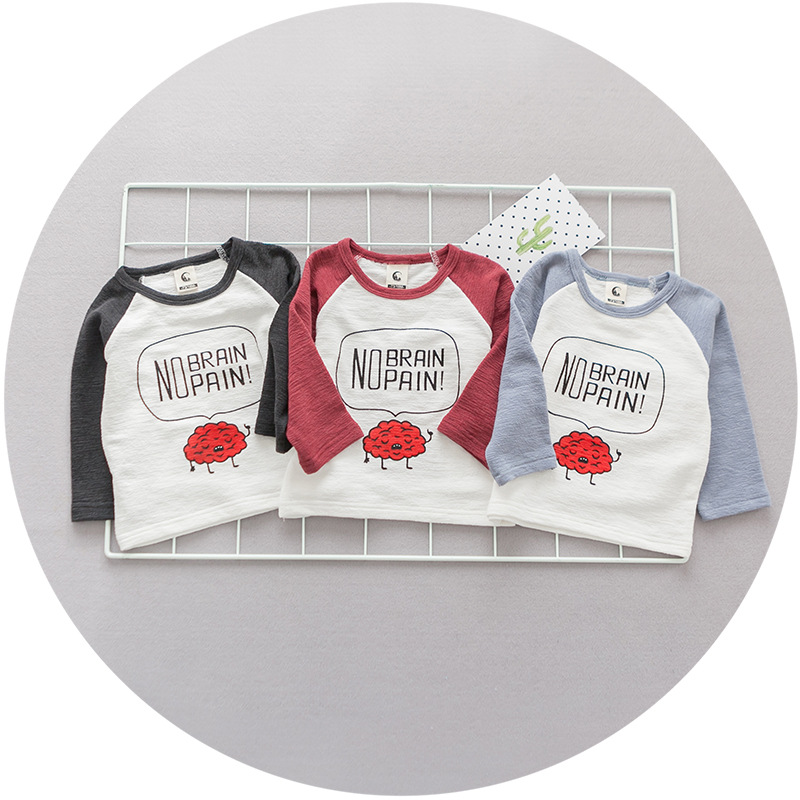 FS0041A Newest baby clothing boys spring long sleeve printing T-shirts