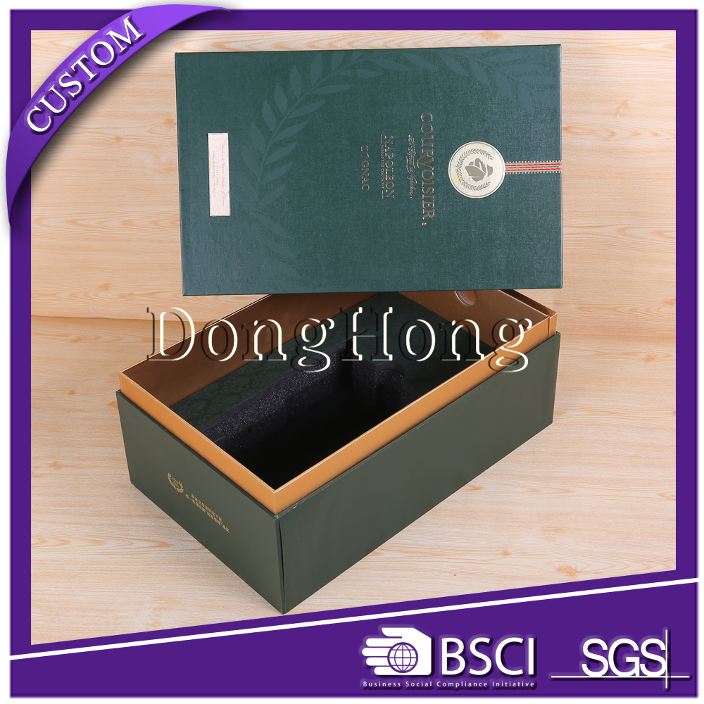 China supplier luxury blue unfolding paper wine carrier box