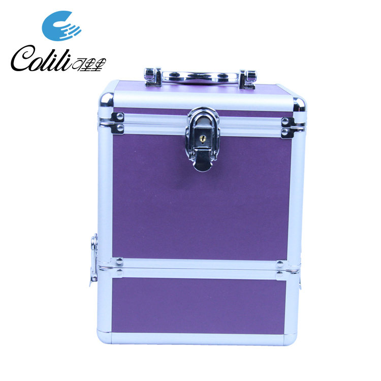Wholesale aluminum travel jewelry makeup case portable rolling cosmetic organizer