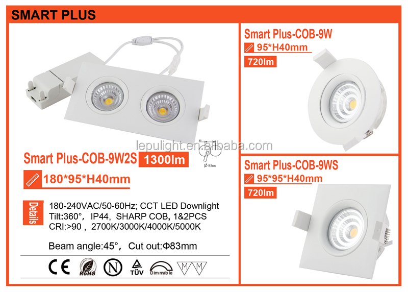 GYRO cct dimming recessed led light housing downlight housing ip44 7w