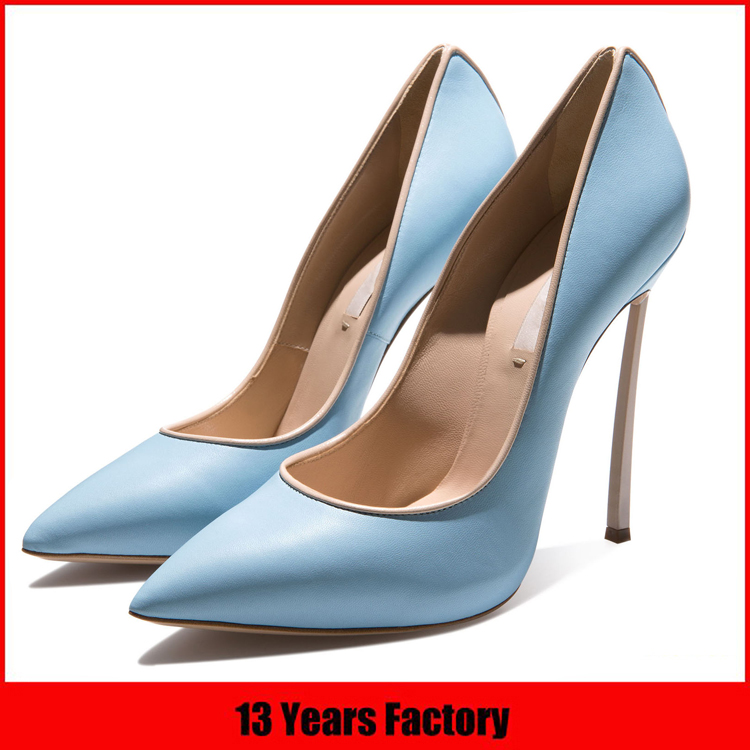 factory price luxurious elegant fashion sexy top quality graceful genuine leather thin high heel pump women footwear dress shoes