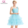 Grace Karin New Arrival Sexy Sweetheart One Shoulder Design Light Blue Organza Crystal Short Cocktail Dresses CL4589-1