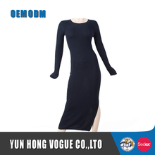 Viscose/cotton/nylon fashion women sexy round neck long sleeve maxi knitwear dress